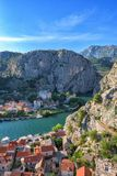 Omis town, canyon of the Cetina river and rocky Dinara mountains, top view from Mirabella Peovica fortress, Dalmatia, Croatia stock photography