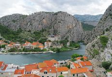 Omis town and Cetina river. Beautiful summer view on Omis town and Cetina river in Croatia stock photography