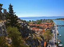 Omis (view from the cliff). Omis is a city of pirates in the left corner of the photo is a fortress, known as a haven for pirates stock photos