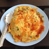 Omlet. Thai food. I have lunch Royalty Free Stock Photography