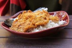 Omlet z ryż na czerwień talerzu Zdjęcie Royalty Free