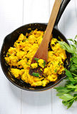 Omlette in cast iron skillet Stock Photo