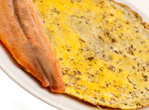 Omlette with fish breakfast Stock Photos