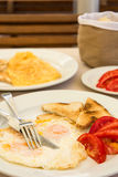 Omlette with toast bread and tomatoes Royalty Free Stock Photo