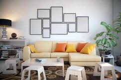 Omlijsting in de woonkamer wordt geplaatst die Royalty-vrije Stock Foto's