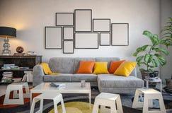 Omlijsting in de woonkamer wordt geplaatst die Stock Foto