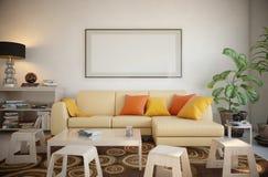 Omlijsting in de woonkamer wordt geplaatst die Stock Fotografie