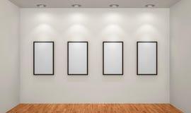 Omlijstingen of foto's in kunstgalerie Royalty-vrije Stock Afbeelding