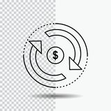 Omloop, financiën, stroom, markt, het Pictogram van de geldlijn op Transparante Achtergrond Zwarte pictogram vectorillustratie royalty-vrije illustratie