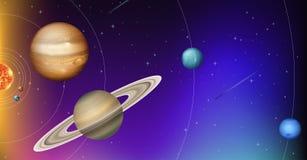 Omlopp av planeter i utrymme royaltyfri illustrationer