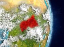 Omloppsikt av centrala Afrika i rött Arkivfoto