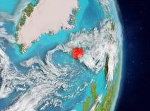Omloppsikt av Island i rött Arkivbild