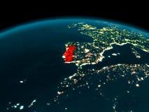 Omloppsikt av Portugal på natten Royaltyfria Bilder