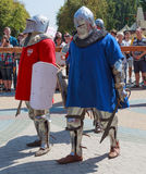 Сommand of Polish knights preparing for battle. Ukrainian-Polish tournament of historical medieval battle. Maxim Gorky Central Park for Culture and Recreation Royalty Free Stock Photography