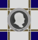 Сommemorative medal men profile Royalty Free Stock Photos
