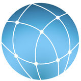 Сommunication on the planet. Minimalist icon planet that characterizes the Internet and communication Stock Photography