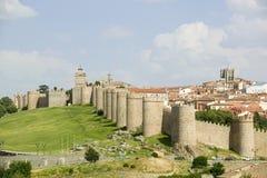 Ommuurde stad van 1000 A D randen Avila Spanje, een oud Kastiliaans Spaans dorp Stock Afbeeldingen