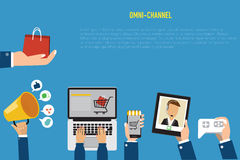 OMNI-Channel Concept For Digital Marketing And Online Shopping.Illustration EPS10. Royalty Free Stock Image