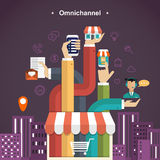 Omni-channel shopping experience Royalty Free Stock Photography