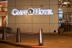 Omni Hotel in San Diego. Night view of the luxurious Omni Hotel located next to Petco Park baseball stadium in San Diego, California stock image