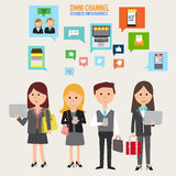 OMNI-kanal begrepp för digital marknadsföring och online-shopping I Royaltyfria Foton