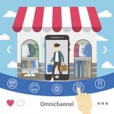 omni-kanal shoppingerfarenhet royaltyfri illustrationer