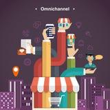 omni-kanal shoppingerfarenhet vektor illustrationer