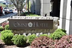 Omni Hotel, Downtown Nashville, TN. The Omni Nashville Hotel embodies the very soul of the city, tying together Nashville`s rich musical heritage with the style stock images