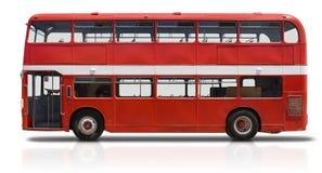 Omnibus de apilador doble rojo en blanco Imágenes de archivo libres de regalías