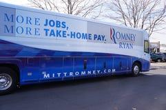 Omnibus de campaña de Romney imagenes de archivo