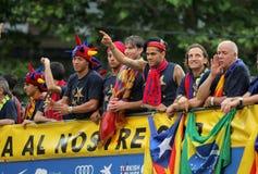 Omnibus de los jugadores de FC Barcelona Fotografía de archivo