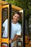 Omnibus y estudiante Fotos de archivo