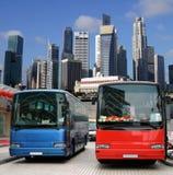 Omnibuses en Singapur Foto de archivo libre de regalías
