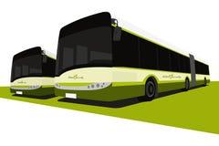 Omnibuses verdes del eco Foto de archivo libre de regalías
