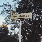 Omnibusse. German directional sign for buses Royalty Free Stock Photo