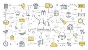 Omnichannel概念 有顾客的许多通讯电路 库存例证