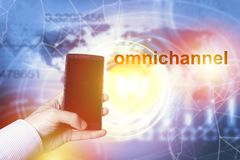 Omnichannel retail concept. Man using mobile payments online shopping and customer network connection, m-banking royalty free stock image