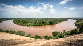 Omo谷的,埃塞俄比亚Omo河 免版税库存照片