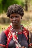 Omo Dolinni ludzie - Banna plemię zdjęcia royalty free