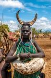 Omo Dolinni ludzie - Mursi plemię fotografia royalty free