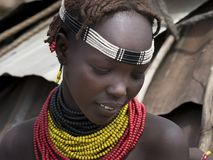 Young girl, shy, tribe of Dassanech stock photos