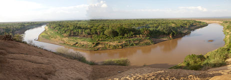 Omo River. Landscape in the South of the Ethiopia. The  is an important river of southern Ethiopia. Its course is entirely contained within the boundaries of stock photo