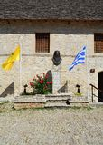 OMODOS-CYPRUS - MAY 15 2015. Abbot Bust at Omodos village in the Troodos mountains of Cyprus. Street and building stock photos