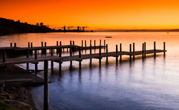 Omon Jetty. On the shore of Lake Taupo New Zealand at Sunrise Royalty Free Stock Photo