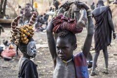 Mursi tribe in Omorate, Ethiopia stock image