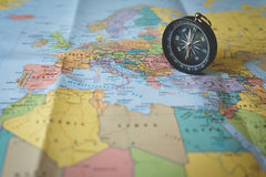 ompass on the tourist map. Focus on the compass needle Royalty Free Stock Images