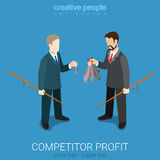 Сompetitor profit comparison fishing flat 3d isometric vector. Flat 3d isometric style competitor profit comparison concept web infographics vector illustration Royalty Free Stock Photography
