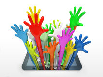 Сomputer tablet and color hands Royalty Free Stock Images