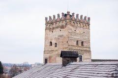 Område av den gamla Lubart slotten i Lutsk Ukraina royaltyfri foto