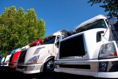 Område av moderna populära färgrika halva lastbilar i linje Arkivbild
